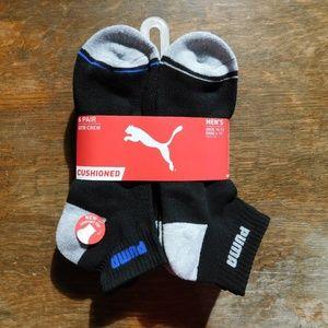 Puma 6 pr qtr crew black cushioned athletic socks
